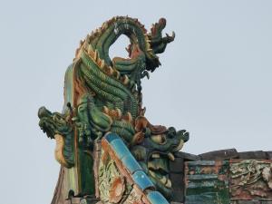 Chine-Détail toiture-Temple de Shuanglin